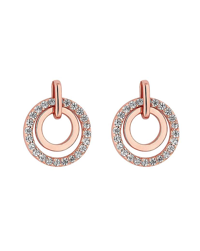 Simply Silver Rose Plated Open Earring