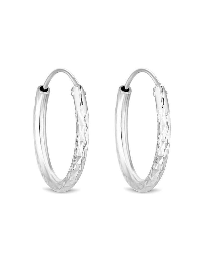 Simply Silver by Jon Richard Simply Silver Diamond Cut Hoop Earrings