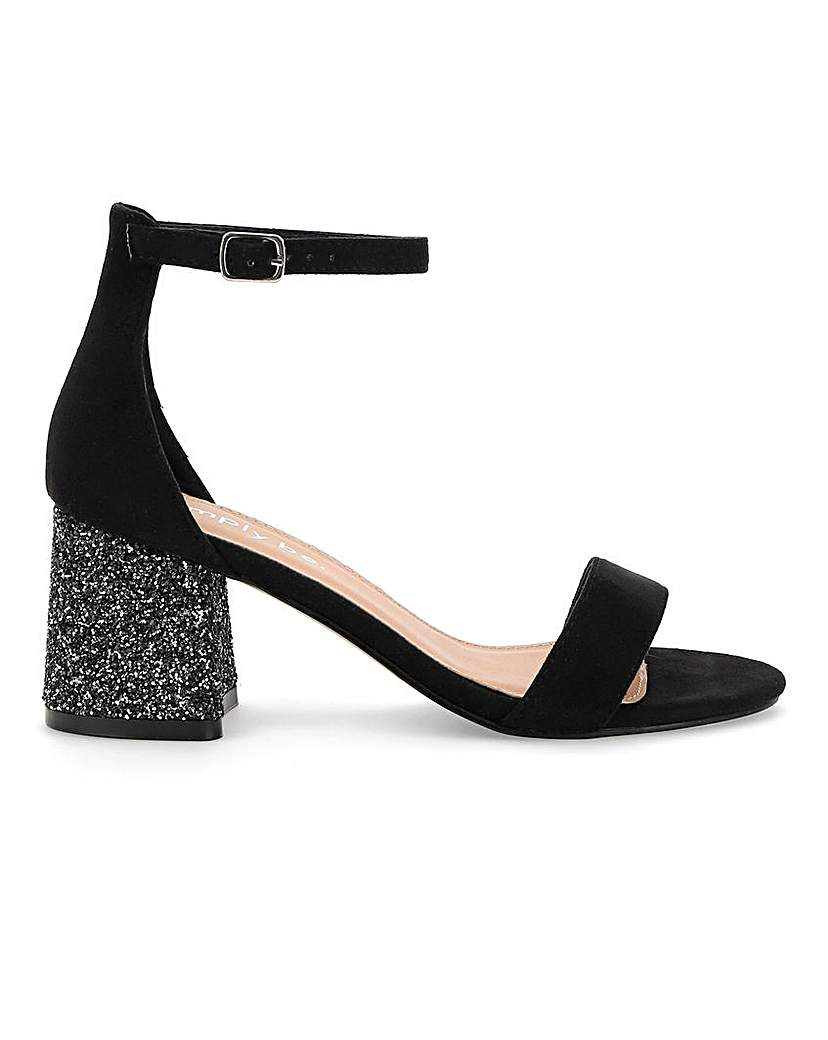 Simply Be Toni Glitter Heel Sandals Extra Wide Fit