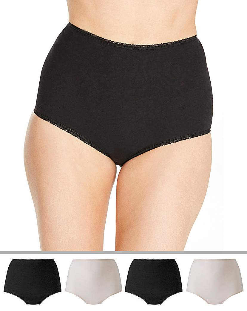 Naturally Close 4 Pack Full Fit Cotton BlackBlush Briefs