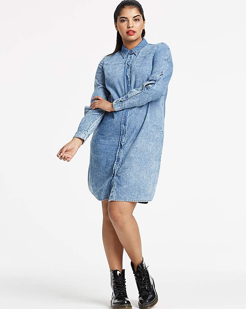 Image of Acid Wash Denim Shirt Dress