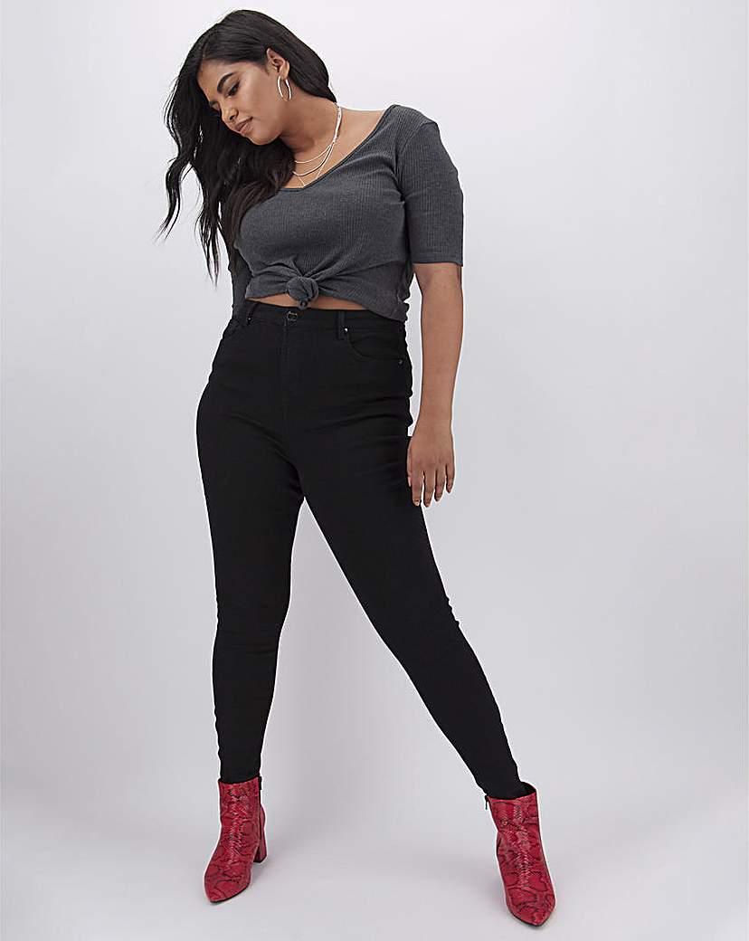 Simply Be Chloe Black High Waist Skinny Jeans