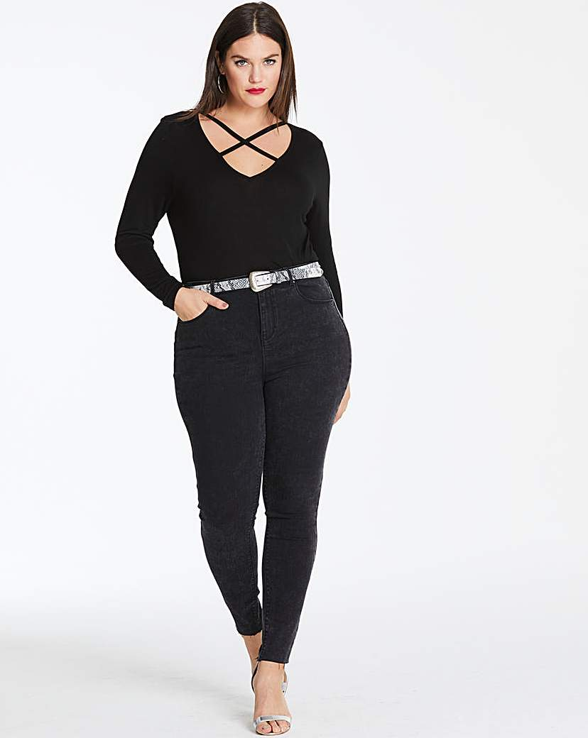 Simply Be Black Acid Chloe High Waist Skinny Jeans