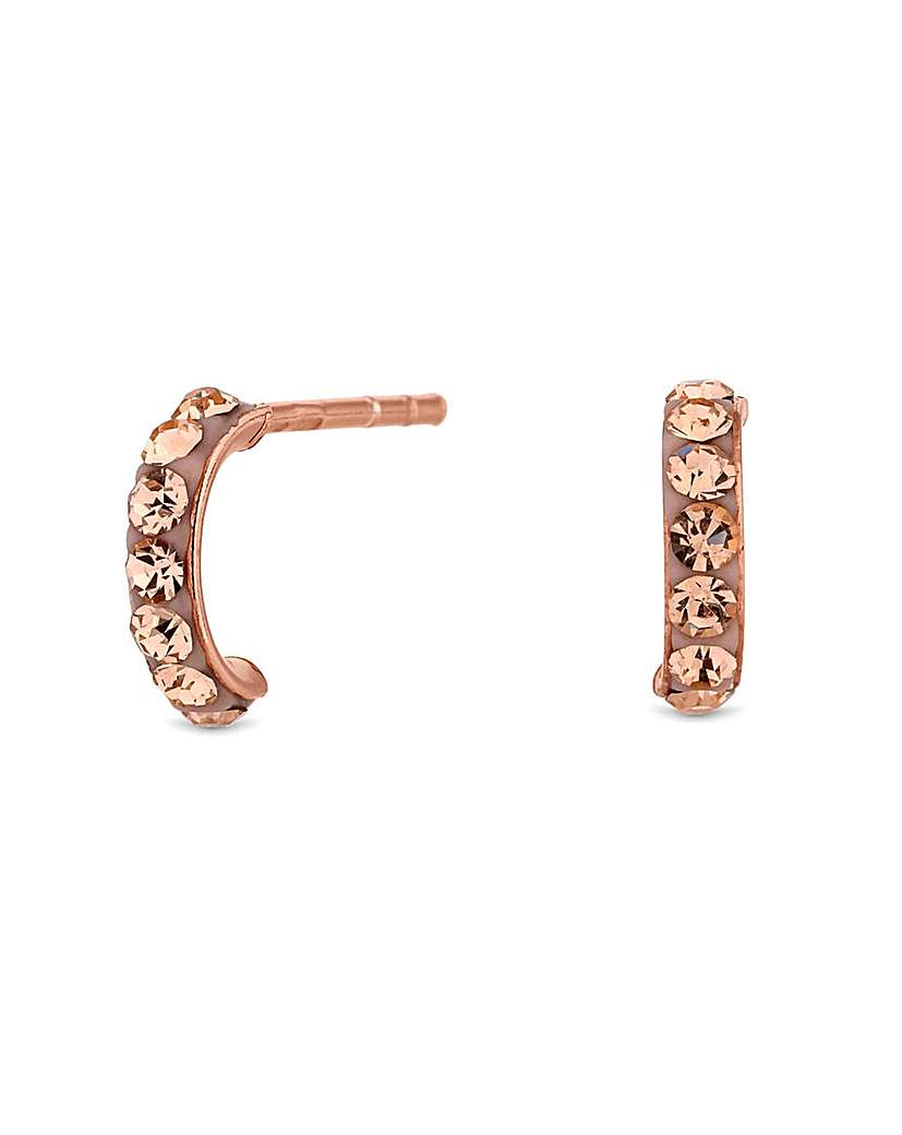 Siimply Silver Pave Half Hoop Earrings
