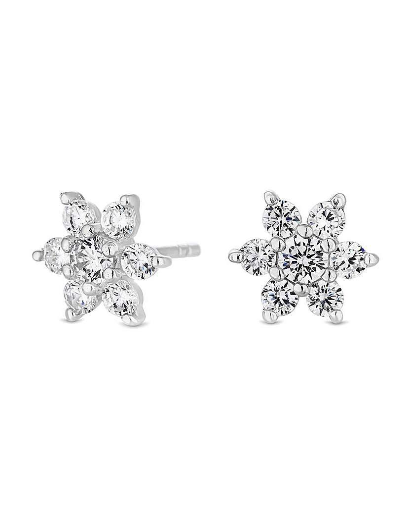 Simply Silver Floral Stud Earrings