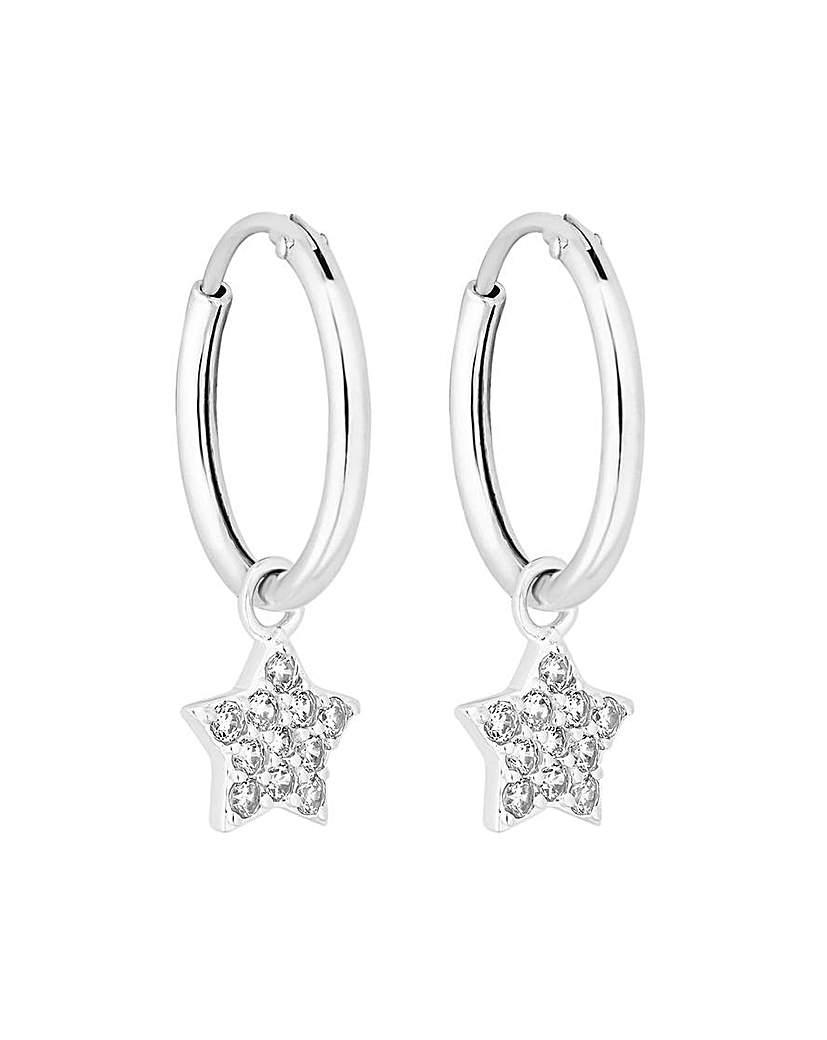 Simply Silver Star Charmed Hoop Earrings