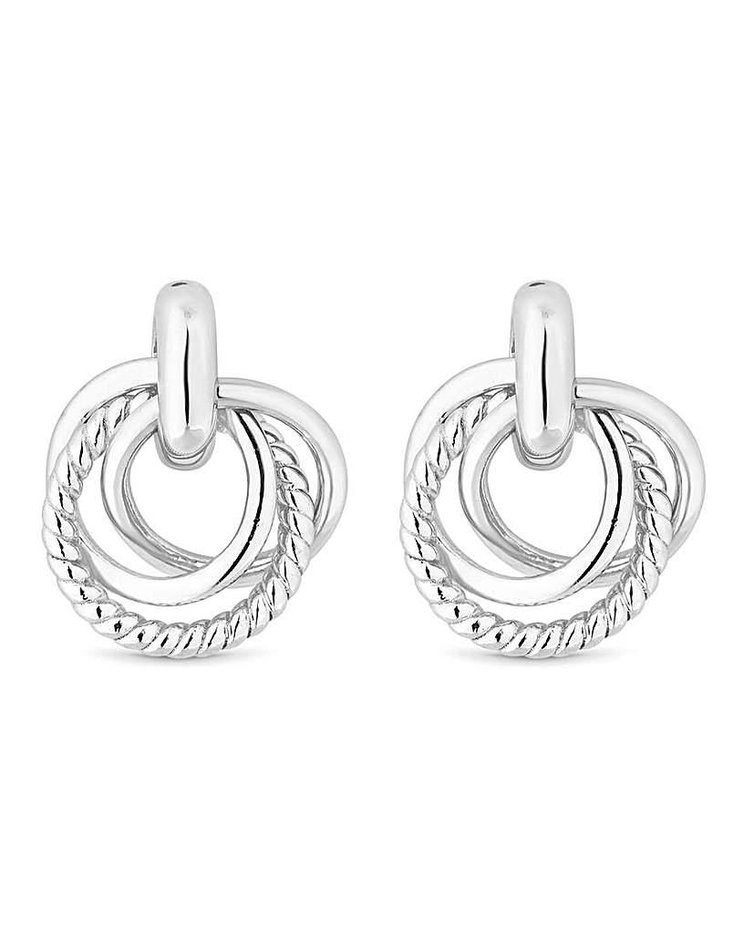 Silver Triple Ring Knot Stud Earrings