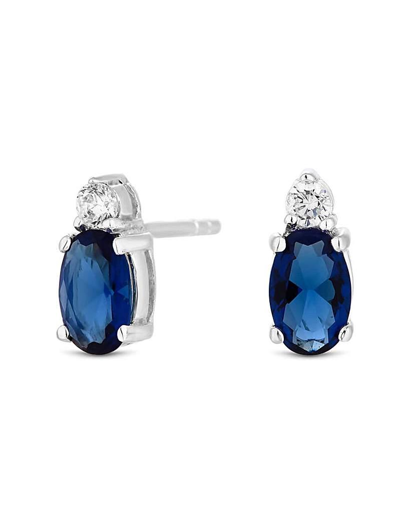 Simply Silver Blue Oval Stud Earrings