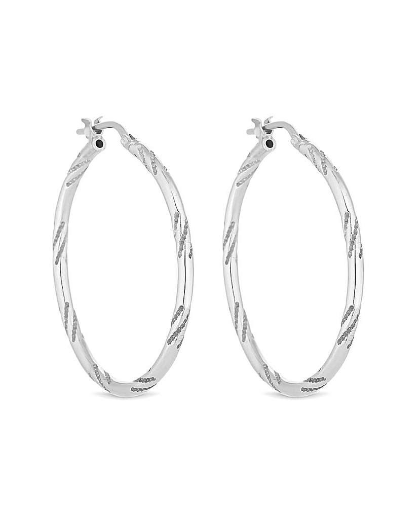 Simply Silver Bamboo Hoop Earrings