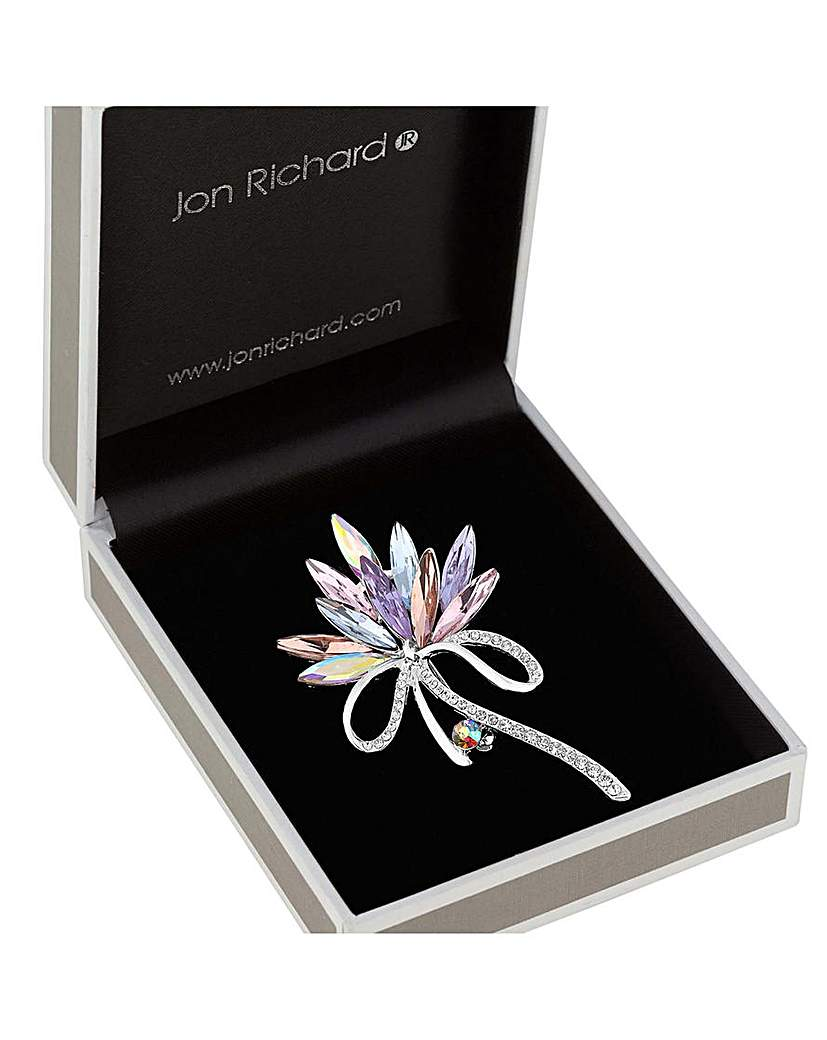 Image of  			   			  			   			  Jon Richard Pink Navette Pave Brooch