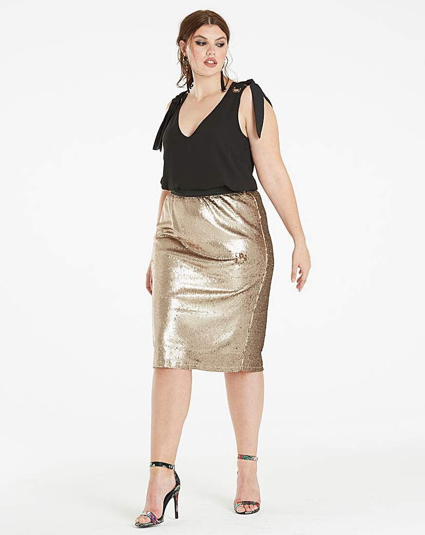 Simply Be Sequinned Pencil Skirt