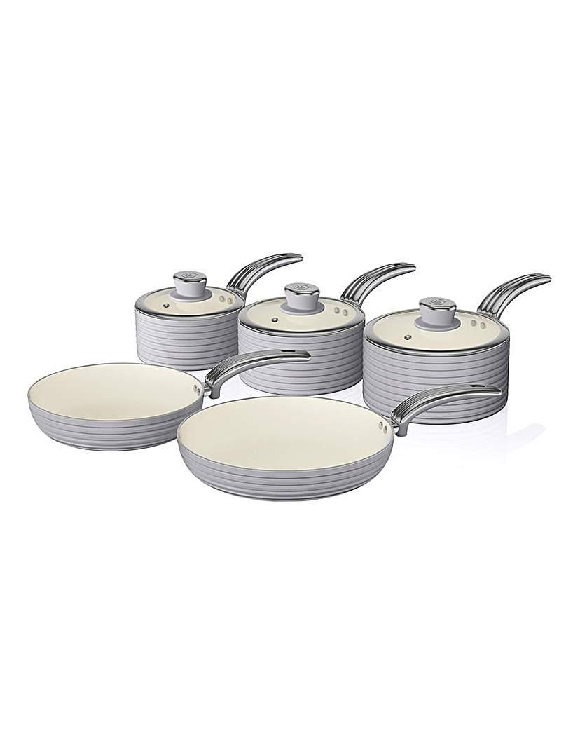 Swan Retro 5 Piece Pan Set Grey