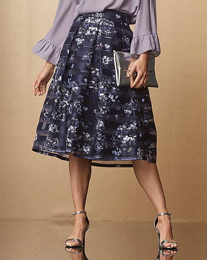 Stripe Printed Mesh Prom Skirt