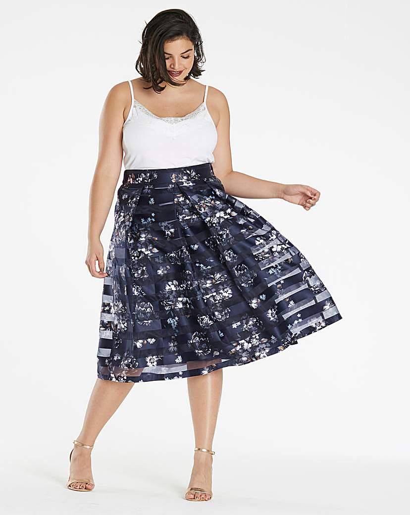 Simply Be Stripe Printed Mesh Prom Skirt