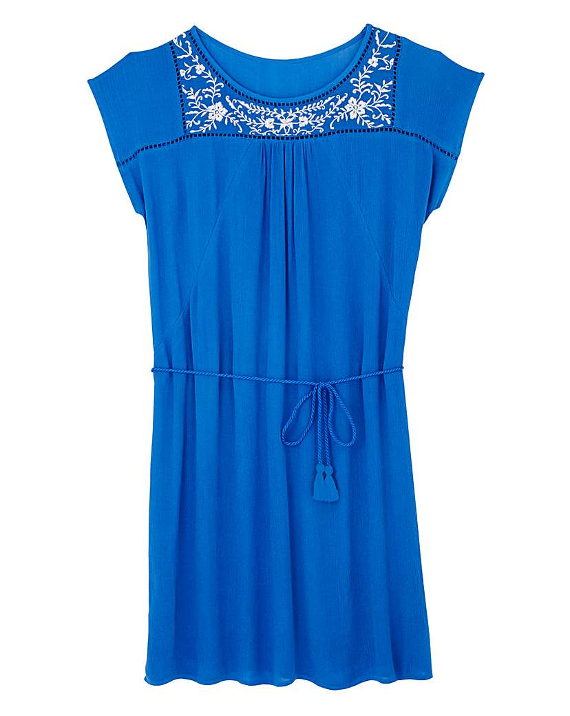 Simply Be Denim Blue Embroidered Detail Tie Tunic
