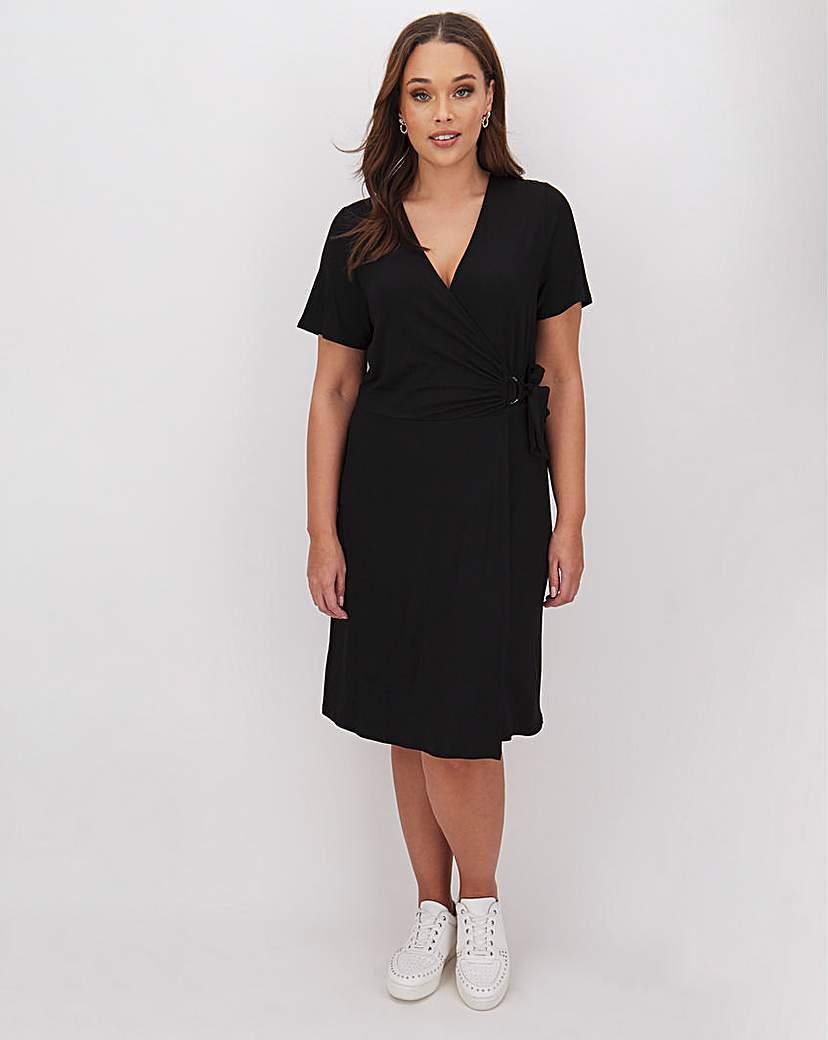 Simply Be Black Wrap O Ring Skater Dress