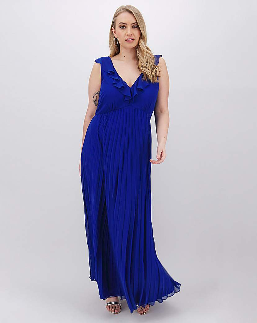 Simply Be Cobalt Pleat Occasion Maxi Dress