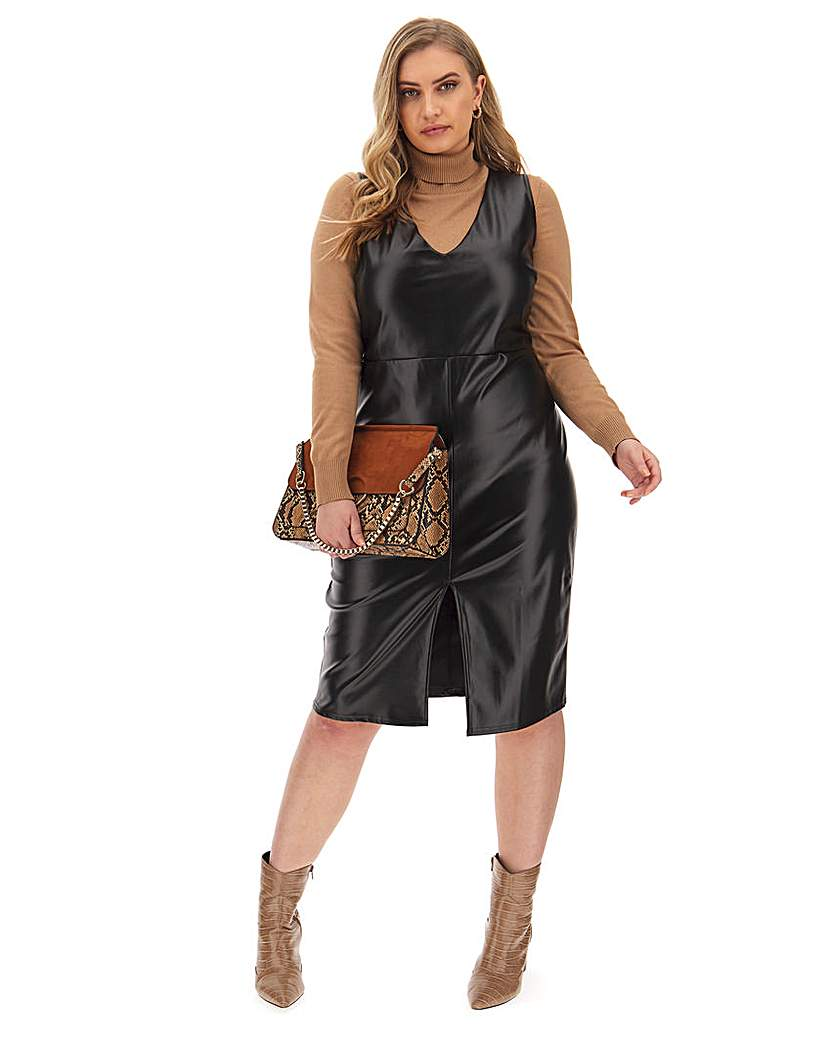 Simply Be Faux Leather Pinafore Dress