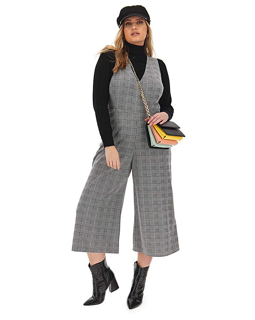 Simply Be Mono Check Cropped Culotte Jumpsuit
