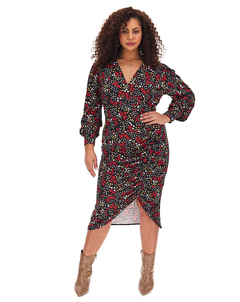 Simply Be Ditsy Floral Ruched Side Bodycon Dress
