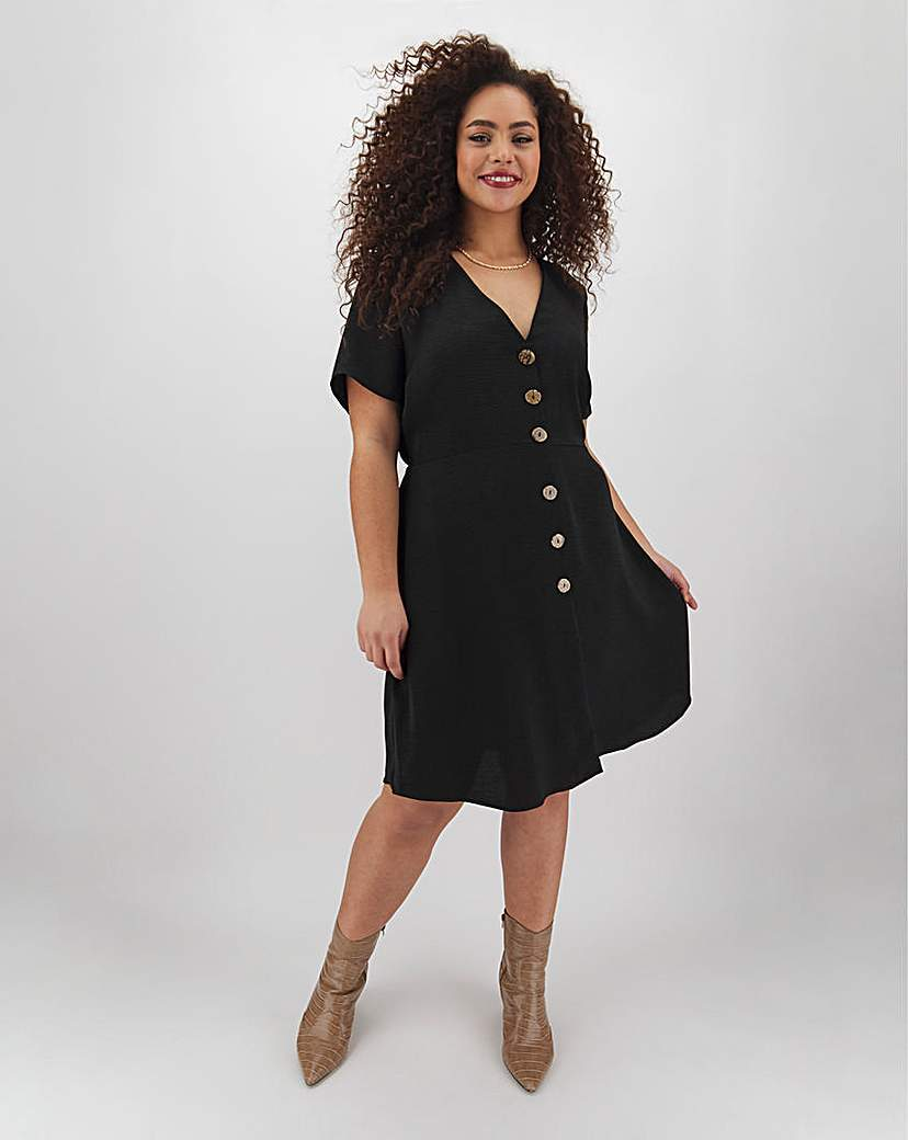 Simply Be Black Button Through Skater Dress