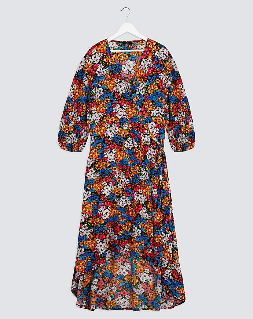 Simply Be Black Floral Crinkle Wrap Dress