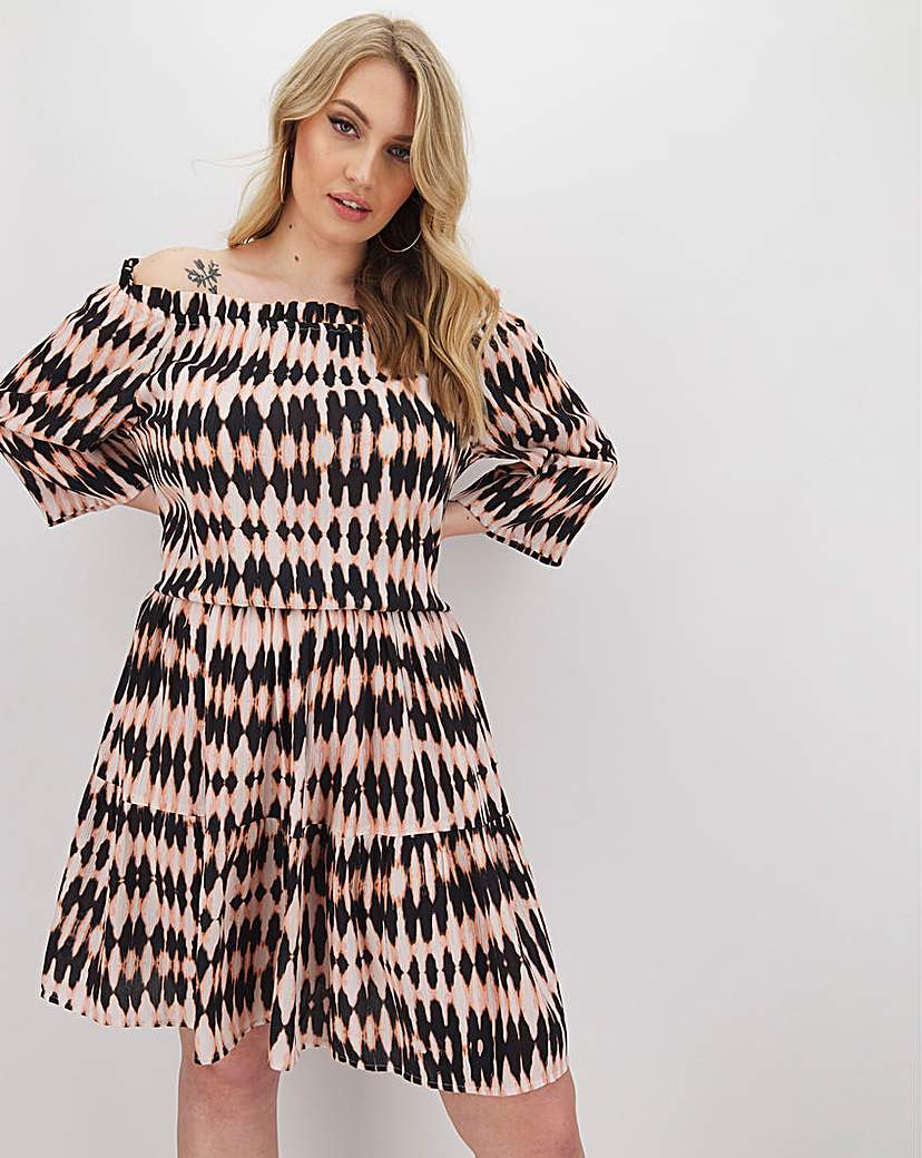 Capsule Tie Dye Crinkle Bardot Blouson Dress