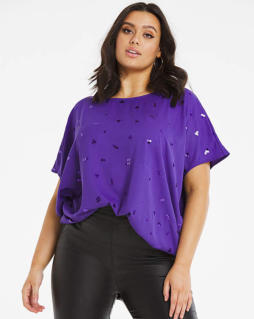 Capsule Violet Embellished Cocoon Style Blouse
