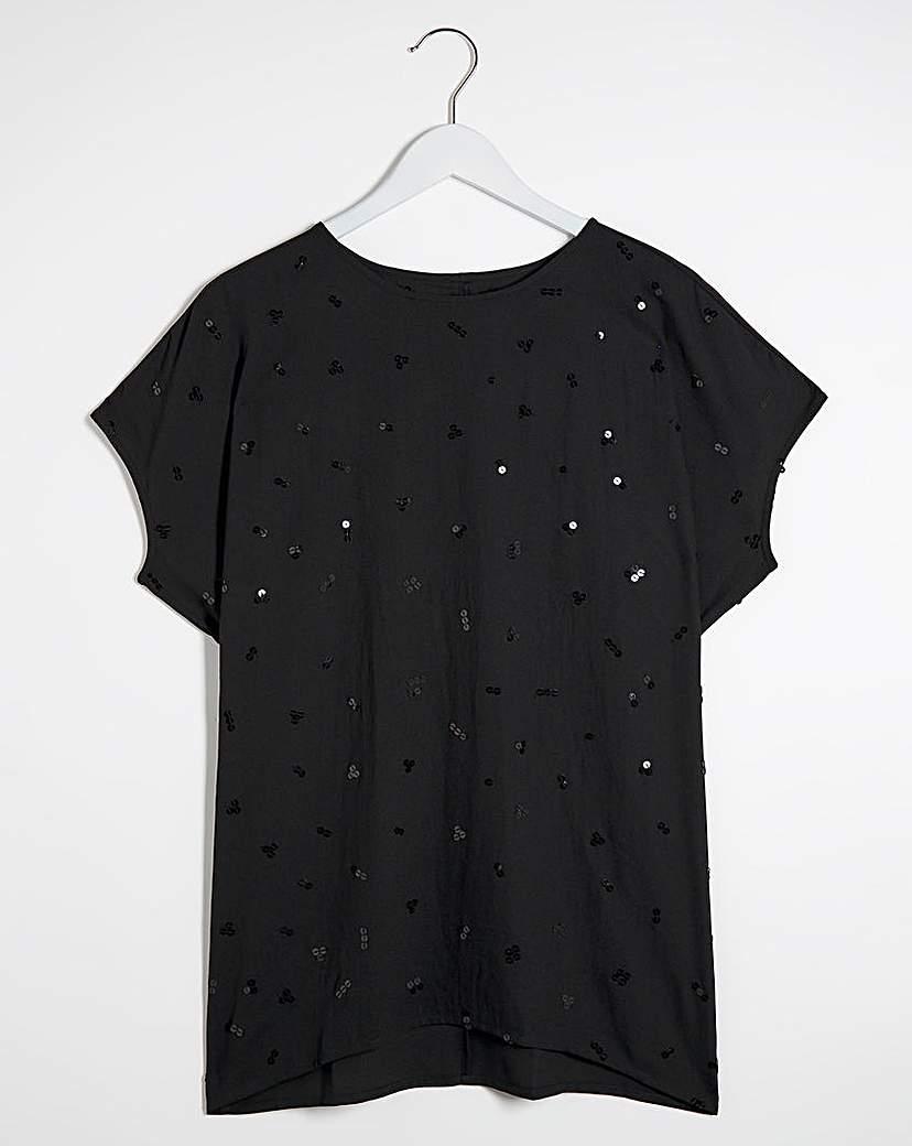 Capsule Black Embellished Cocoon Style Blouse