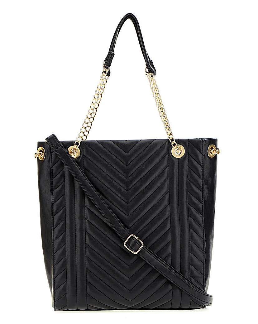Simply Be Black Quilted Shopper Bag