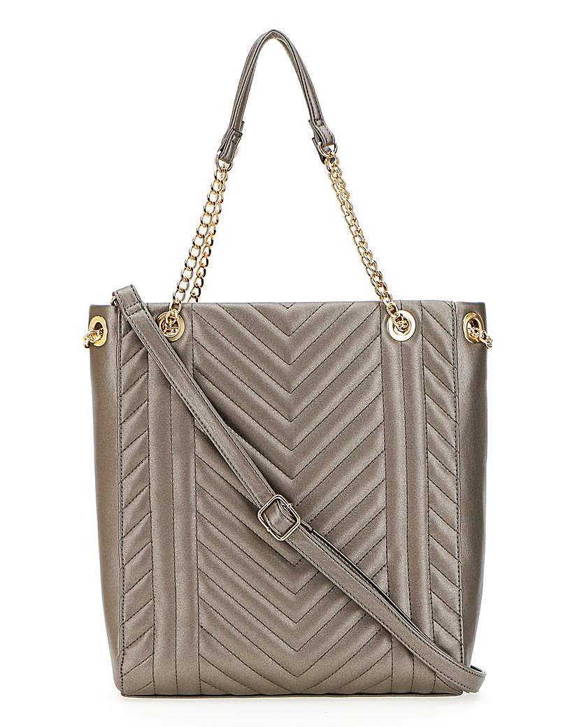 Simply Be Pewter Quilted Shopper Bag