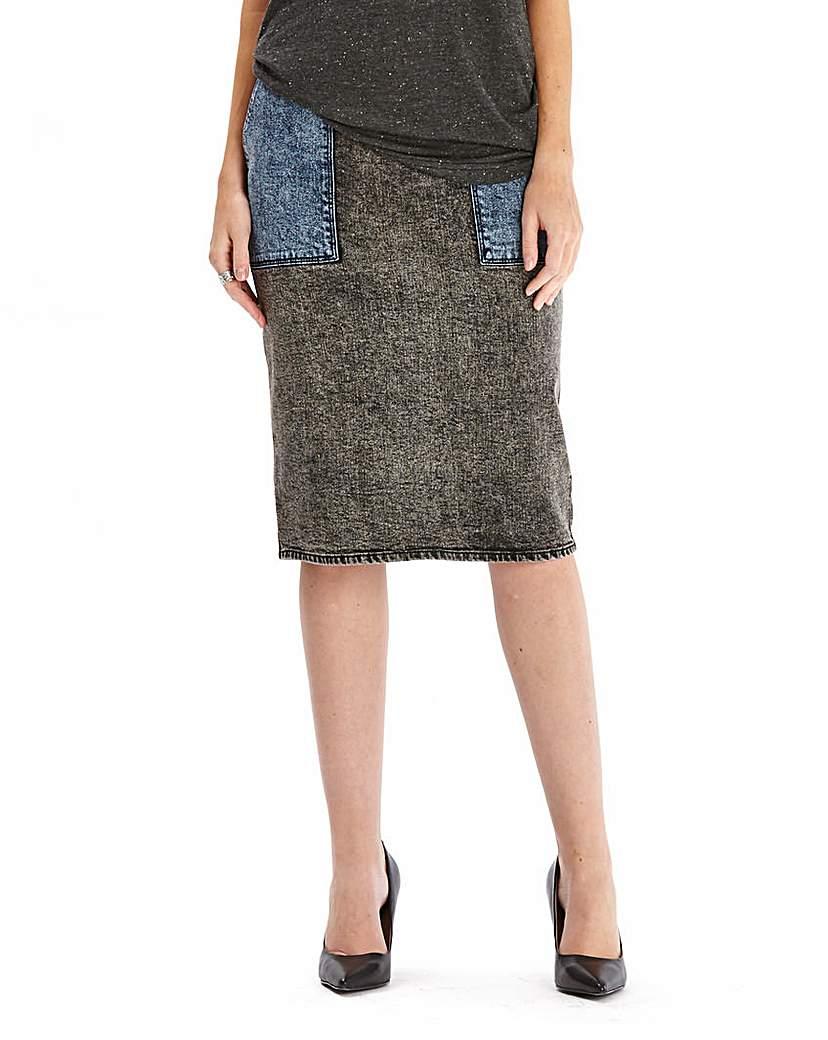 Simply Be Denim Patch Skirt