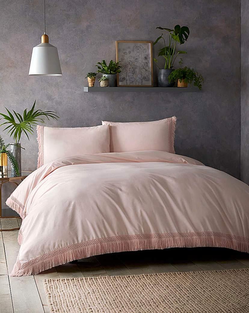 Simply Be Tasha Tassels Pink Cotton Duvet Set