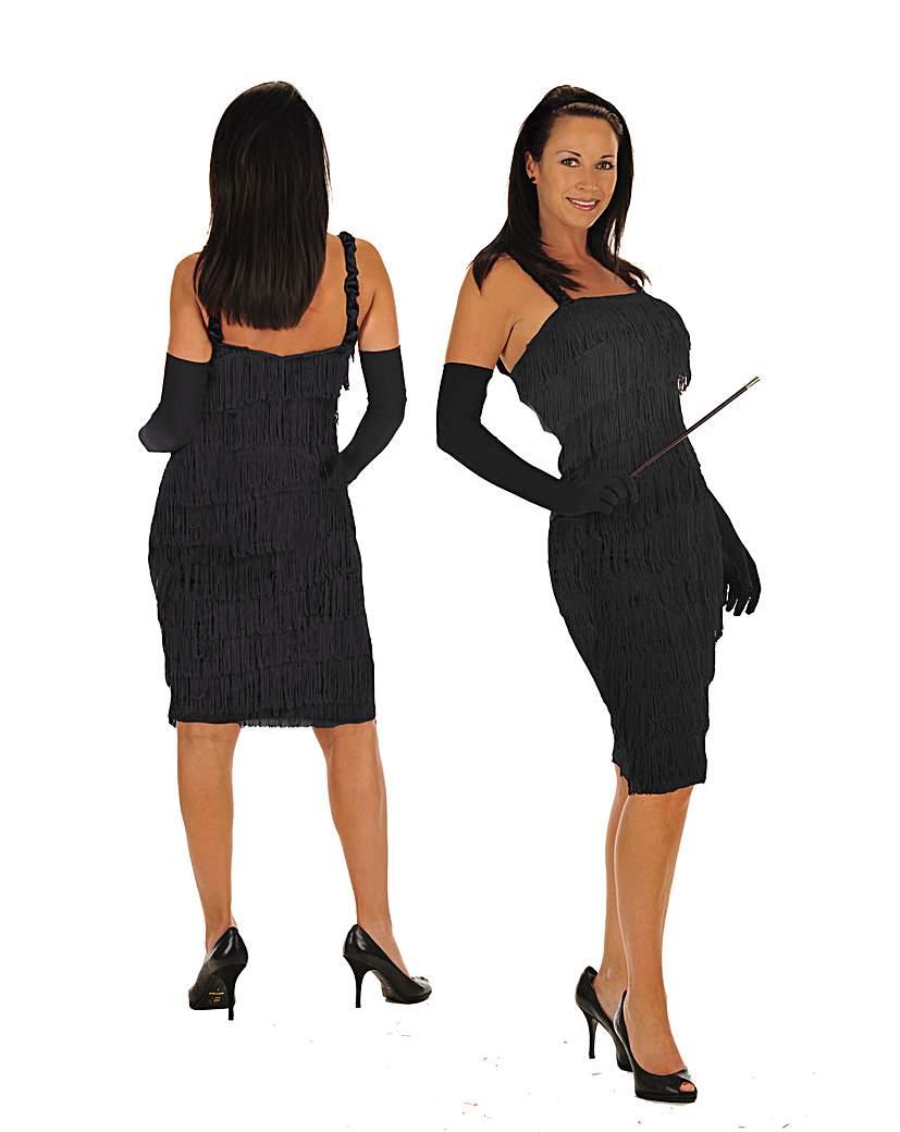Ladies Black 1920s Flapper Dress