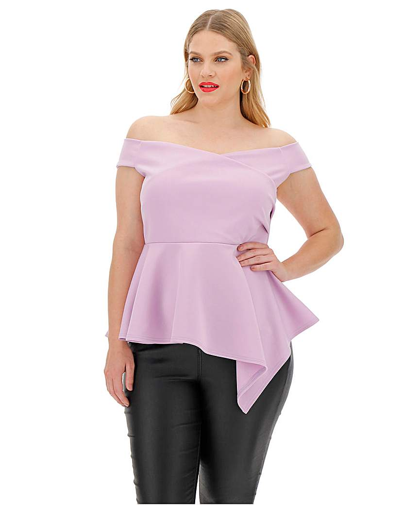 Simply Be Lilac Scuba Wrap Asymmetric Hem Top
