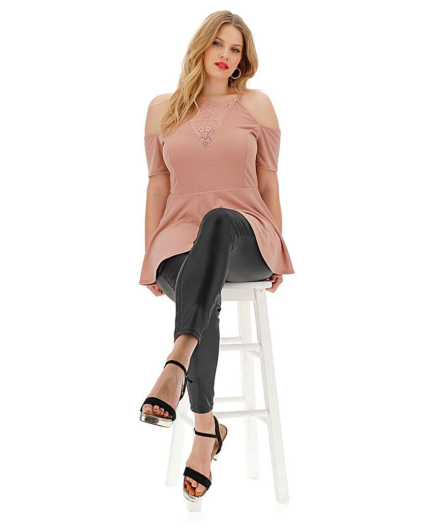 Simply Be Nude Lace Insert Cold Shoulder Top