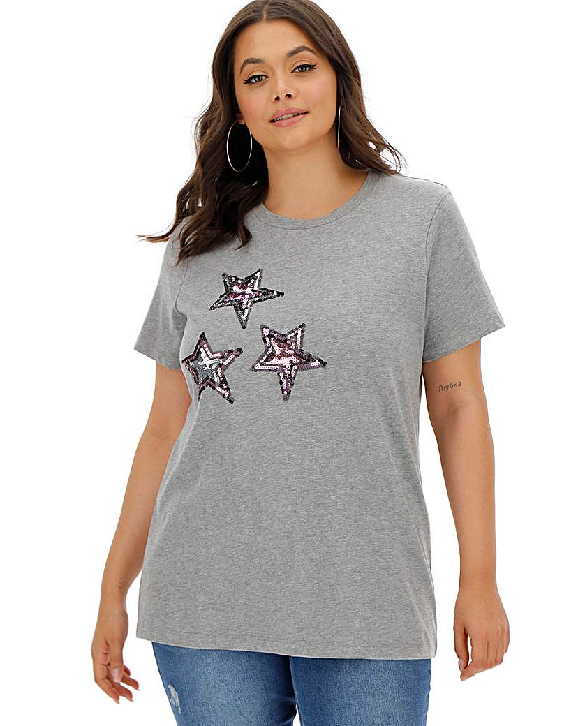 Simply Be Multi Sequin Star Grey Marl T-Shirt