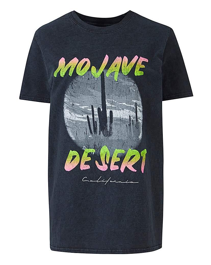 Simply Be Acid Wash 'Mojave Desert' Slogan T-Shirt