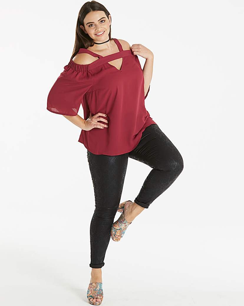 Simply Be Berry Strappy V Neck Blouse