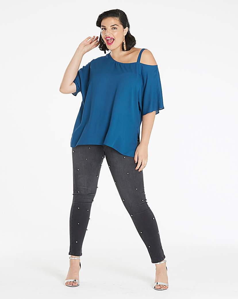 Simply Be Dark Teal Off The Shoulder Blouse