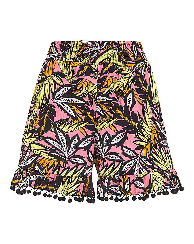 Simply Be Print Crinkle Pom Pom Trim Shorts