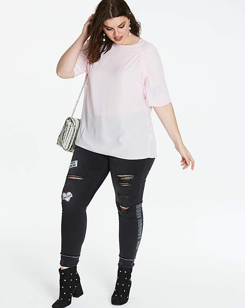 Simply Be Pink Ruched Raglan Sleeve Top