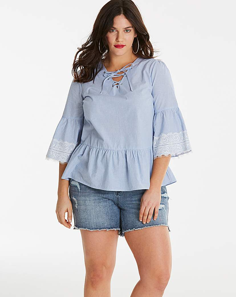 Simply Be Blue Stripe Blouse With Eyelets