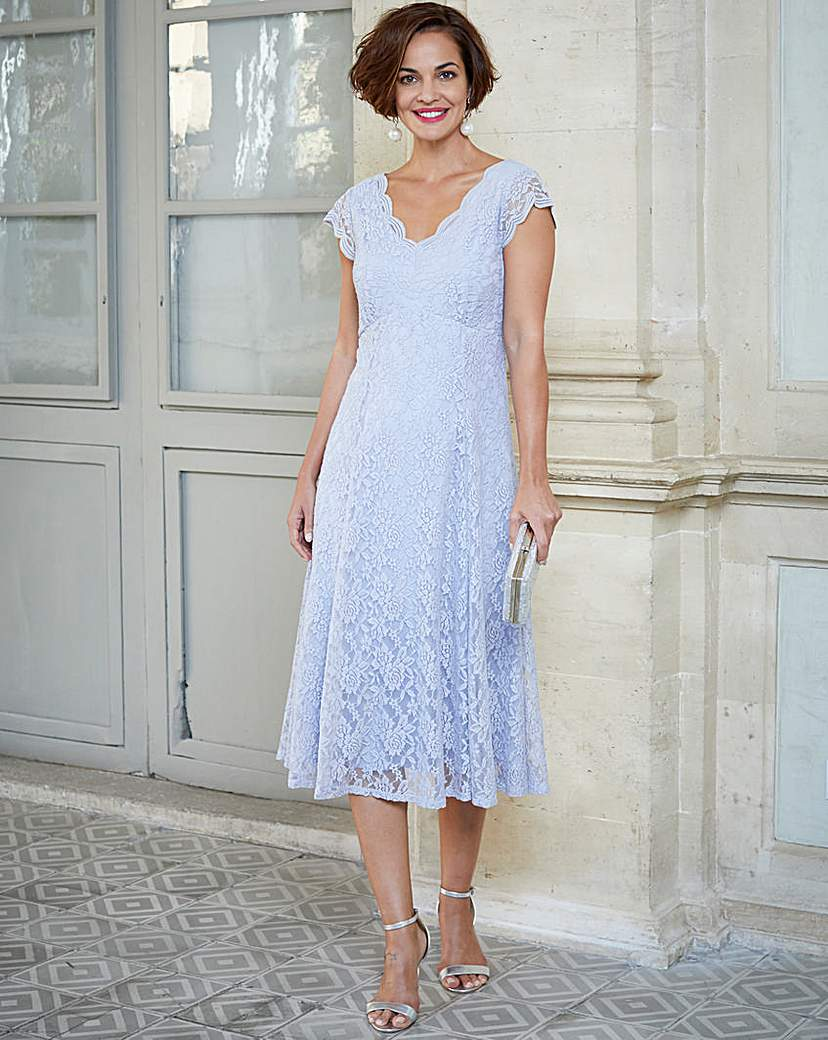 1930s Day Dresses, Afternoon Dresses History Joanna Hope Midi Scallop Lace Dress £36.00 AT vintagedancer.com