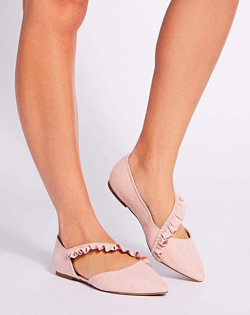 Simply Be Sole Diva Ruffle Ballerina E Fit