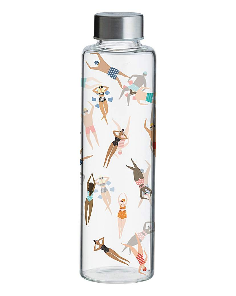 Typhoon Swimming Print Glass Water Bottle