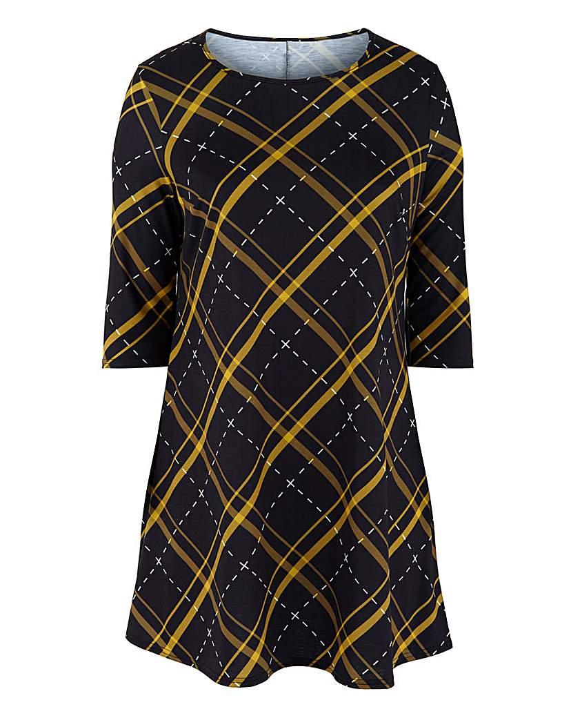 Capsule Ochre Check 3/4 Sleeve Swing Dress