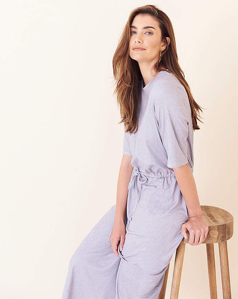 Grey Spot Jersey Drawstring Waist Dress