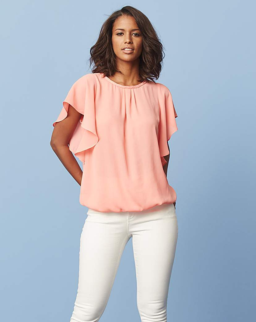 Coral Bubble Hem Blouse