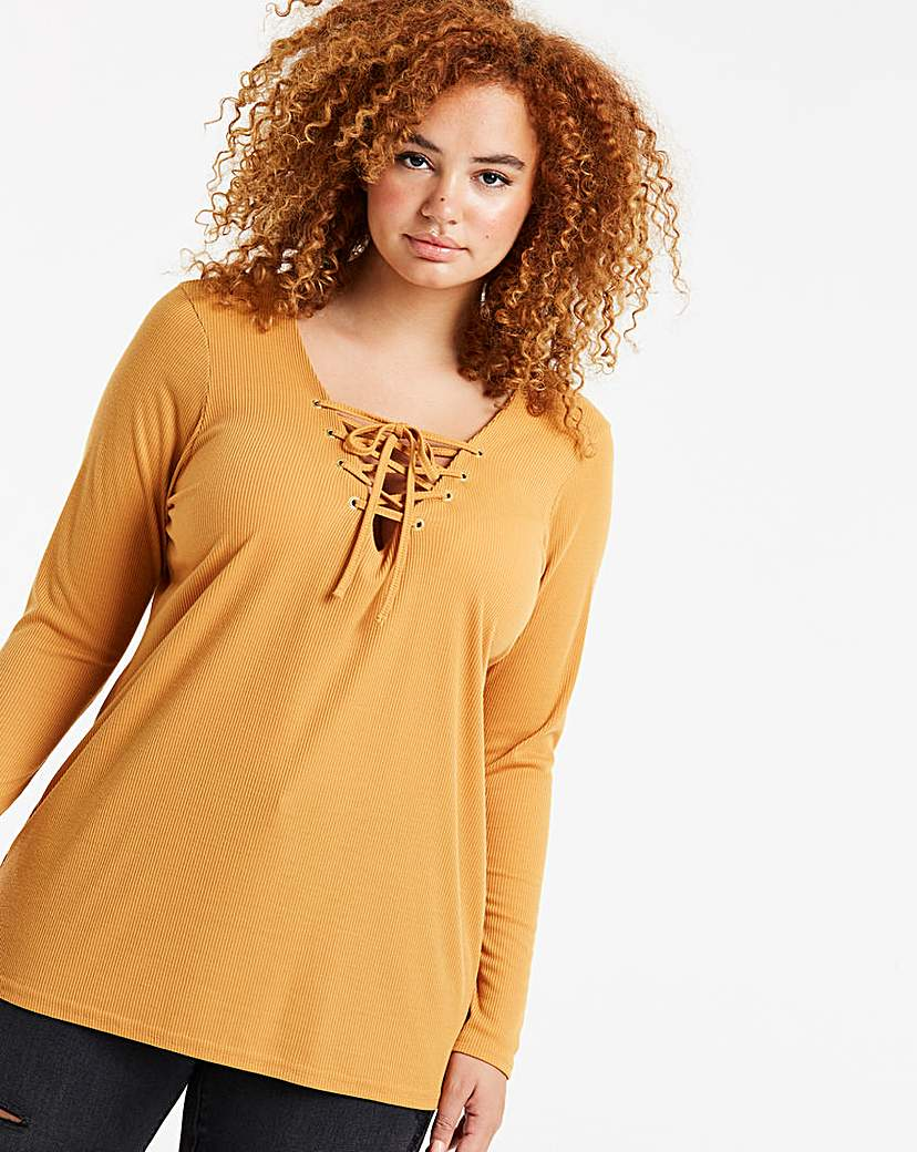 Simply Be Ochre Lace Up Long Sleeve Eyelet Top